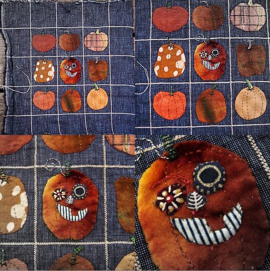 Crazy pumpkin mini quilt