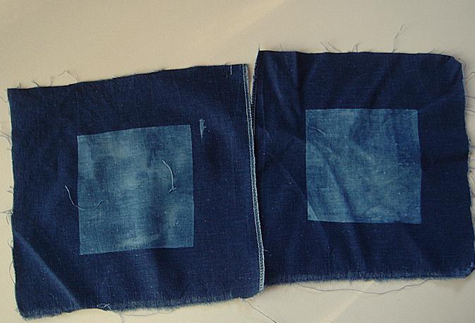 2 discharged squares on indigo