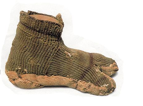 Ancient knitted shoe