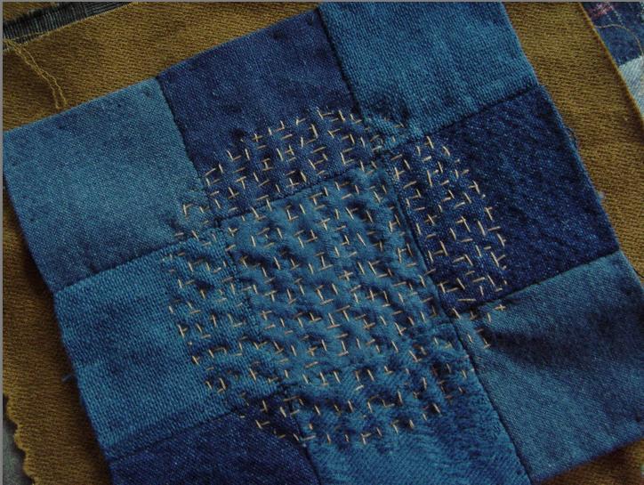 Indigo nine patch with dot