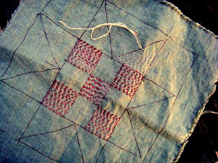 Stitched patchwork-star