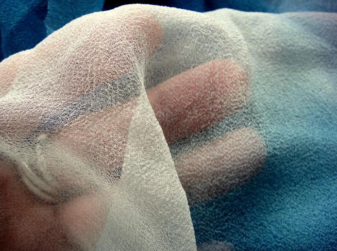 Indigo dyed silk gauze