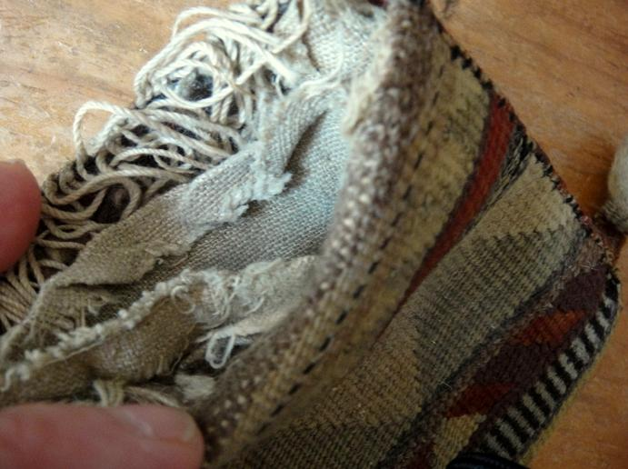 Worn linen lining