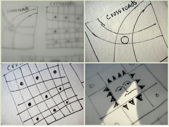 The square as a frame where paths meet