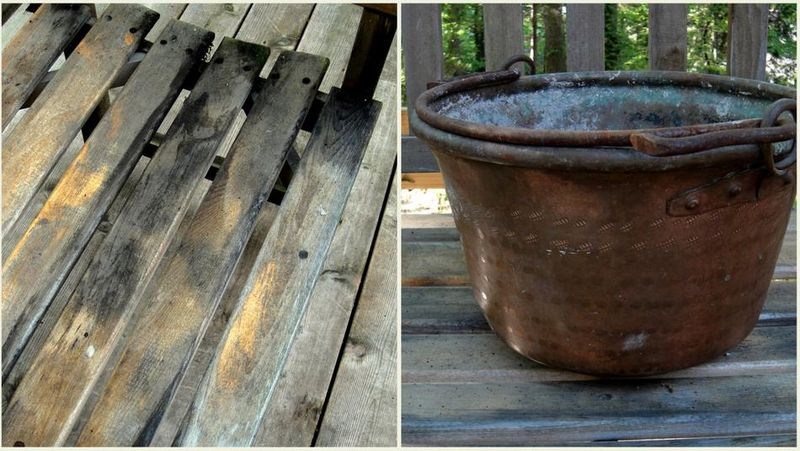 Stained bench and new pot