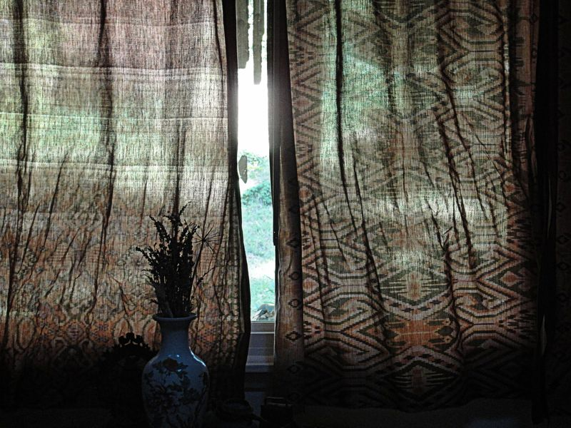 curtains wrinkled fom being knotted all summer