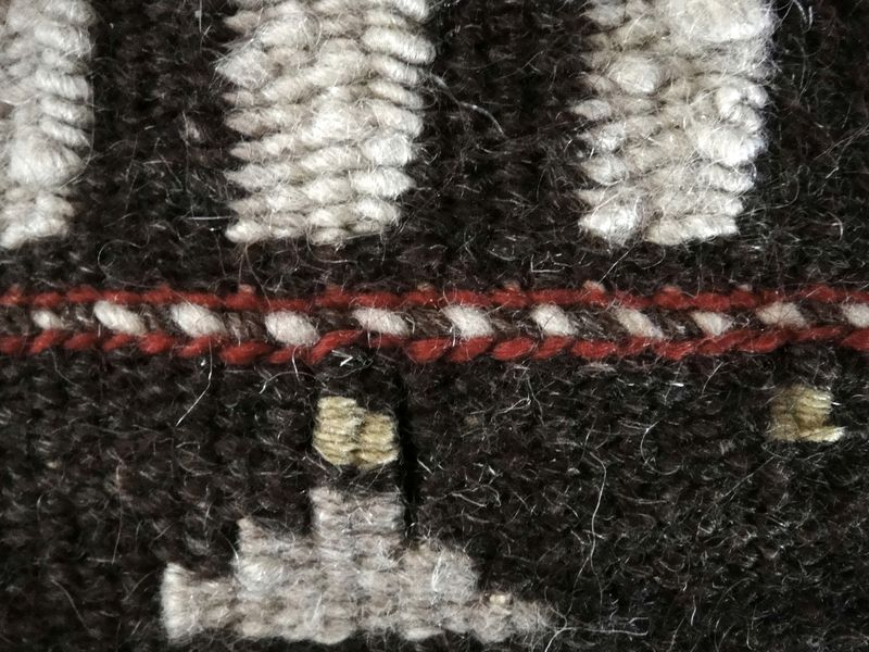 Madder and natural balck and white wool, a bit of pomegranate