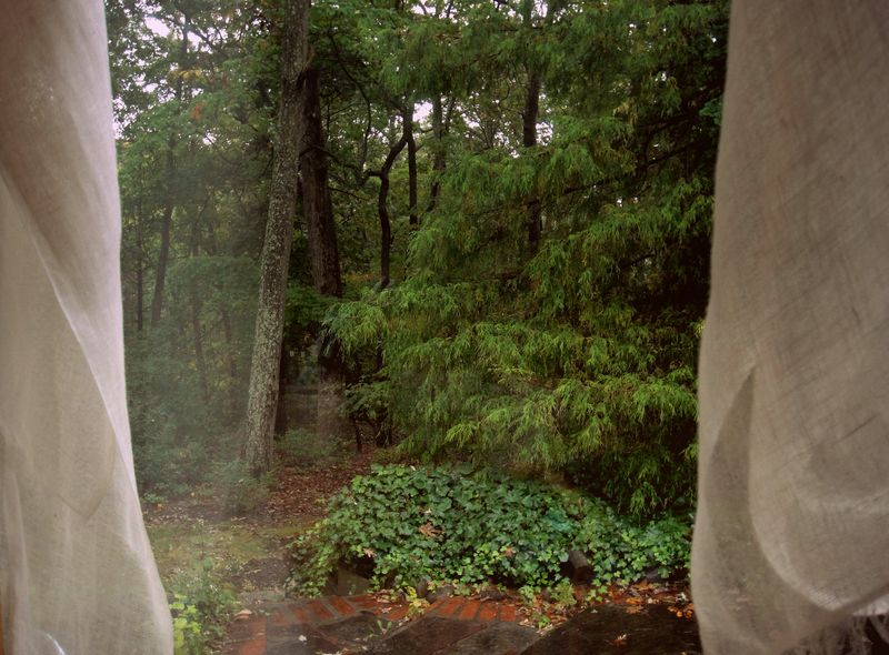 Rain and linen curtains
