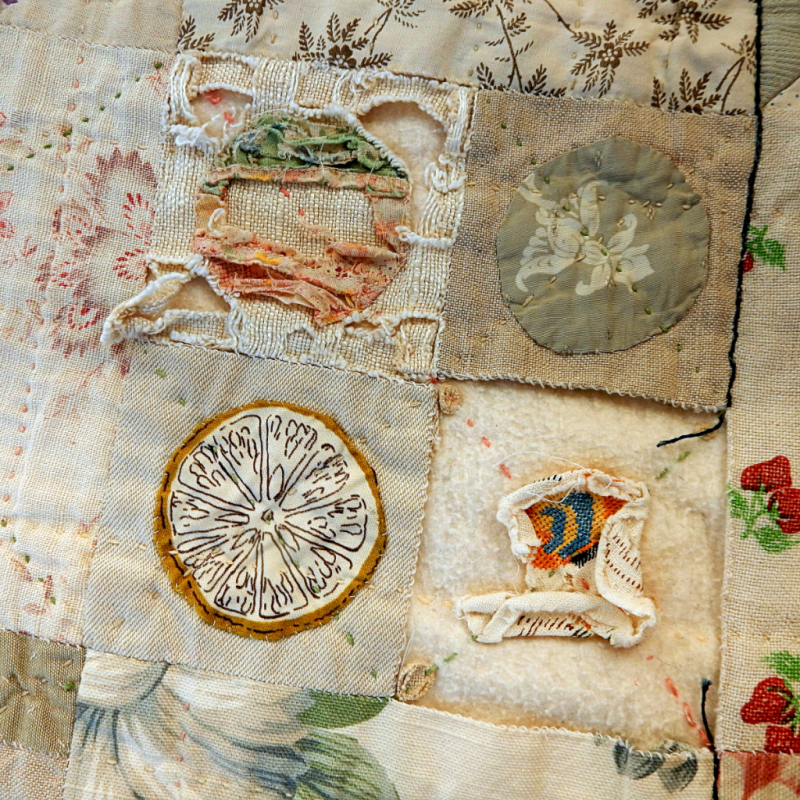Four circle patches on the Cat Quilt