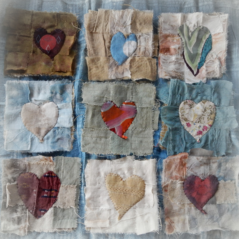 Nine hearts resting in weave