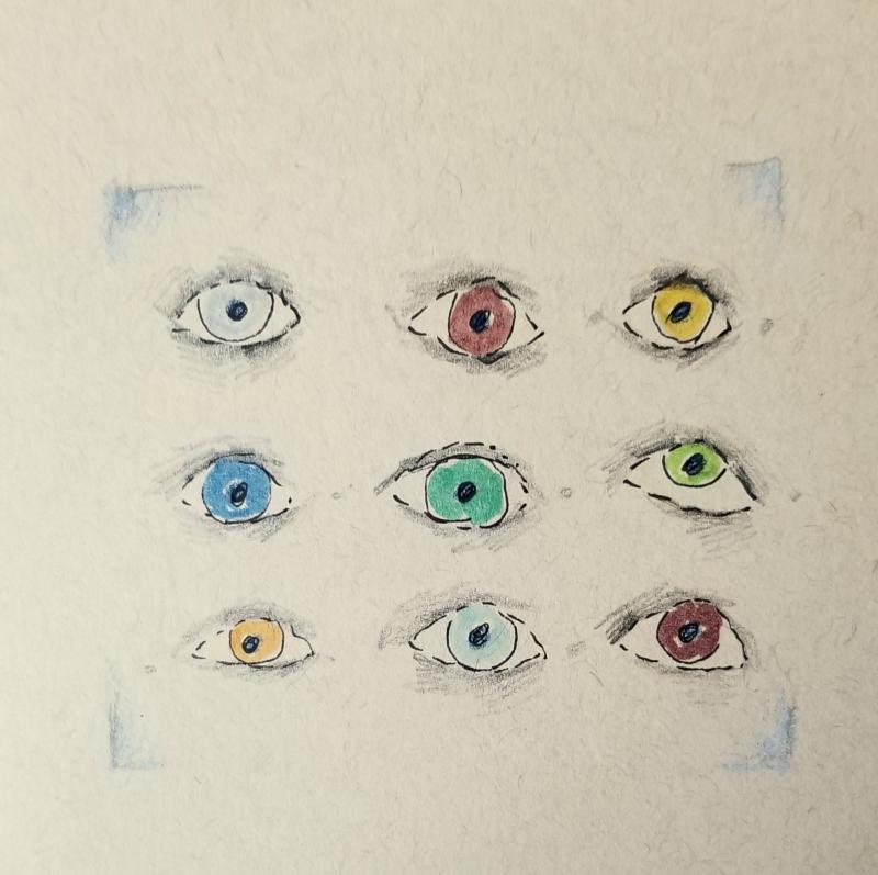 9 eyes. on paper.